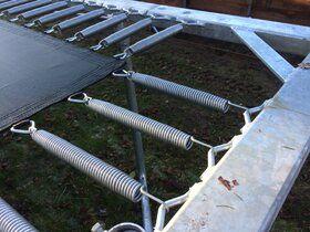 12 Springs Rekrea Bouncer Extra trampoline op poten 431 x 255 cm met premium beschermrand groen
