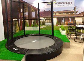 Akrobat Primus trampoline Flat to the Ground rechthoekig 430 x 310 cm met premium beschermrand zwart