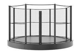 Akrobat Primus professionele trampoline Flat to the Ground 305 cm met premium beschermrand grijs