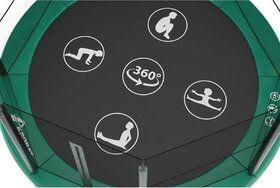 Akrobat Orbit trampoline op poten rechthoekig 330 x 250 cm met medium beschermrand groen
