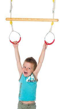 Déko-Play trapeze van essen hout behandeld met lijnzaadolie met metalen ringen met kunststof rood