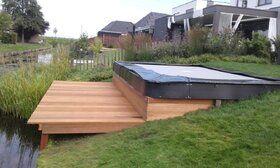 Akrobat Primus trampoline Flat to the Ground rechthoekig 430 x 310 cm met premium beschermrand grijs