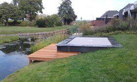 Akrobat Primus professionele trampoline Flat to the Ground rechthoekig 330 x 250 cm met premium beschermrand grijs