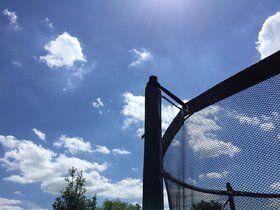 Avyna Pro-line trampoline op poten met veiligheidsnet en glasfiber 430 cm met medium beschermrand grijs