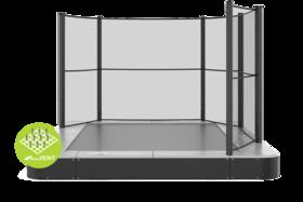 Akrobat Primus trampoline Flat to the Ground rechthoekig 300 x 180 cm met premium beschermrand grijs