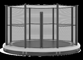 Akrobat Grasshopper trampoline inground 430 cm met medium beschermrand grijs