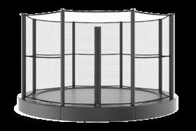Akrobat Primus professionele trampoline Flat to the Ground 305 cm met premium beschermrand zwart