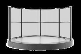 Akrobat Primus trampoline Flat to the Ground 365 cm met premium beschermrand zwart