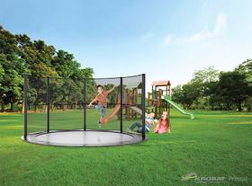 Akrobat Primus professionele trampoline Flat to the Ground 365 cm met premium beschermrand zwart