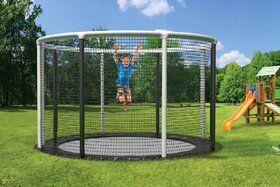 Akrobat Gallus trampoline Flat to the Ground 430 cm met heavy duty veiligheidsnet grijs
