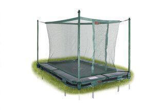 Avyna Pro-line trampoline inground rechthoekig met veiligheidsnet 215 x 155 cm met medium beschermrand groen Groen