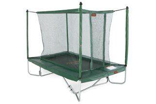 Avyna Pro-line trampoline op poten rechthoekig met veiligheidsnet 275 x 190 cm cm met medium beschermrand groen Groen