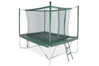 Avyna Pro-line trampoline op poten rechthoekig met veiligheidsnet 300 x 225 cm met medium beschermrand groen Groen