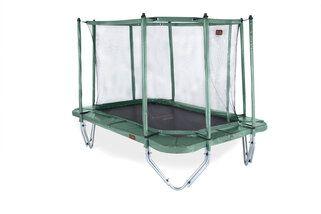 Avyna Pro-line trampoline op poten rechthoekig met veiligheidsnet 380 x 255 cm met medium beschermrand groen Groen