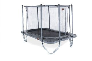 Avyna Pro-line trampoline op poten rechthoekig met veiligheidsnet 380 x 255 cm met medium beschermrand grijs Grijs
