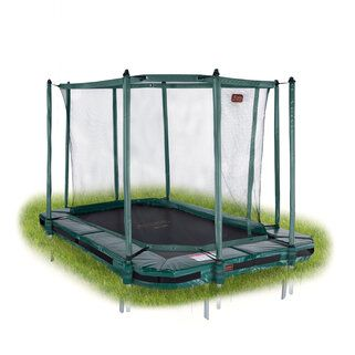 Avyna Pro-line trampoline inground rechthoekig met veiligheidsnet 380 x 255 cm met medium beschermrand groen Groen