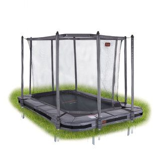 Avyna Pro-line trampoline inground rechthoekig met veiligheidsnet 380 x 255 cm met medium beschermrand grijs Grijs