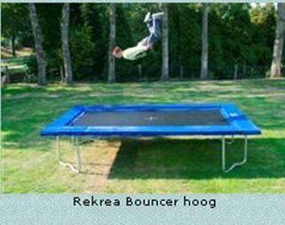12 Springs Rekrea Bouncer Extra trampoline op poten 431 x 255 cm met premium beschermrand groen Groen