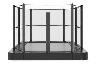 Akrobat Primus trampoline Flat to the Ground rechthoekig 330 x 250 cm met premium beschermrand zwart Zwart